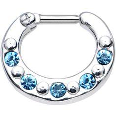 "14 Gauge 5/16"" Blue and Aqua Gem Septum Clicker | Body Candy Body Jewelry"