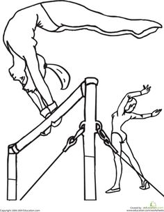 Gymnastics Bars Coloring Pages