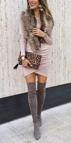 #winter #outfits grey suede knee-high heeled boots. Click To Shop This Look.