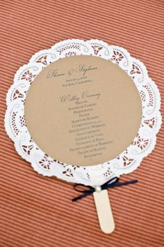 Doily wedding program fans. $3.00, via Etsy. Could be menu's or poems etc. Lovely. Karen we needed this for your wedding, dam Pinterest for not being around 10 years ago,