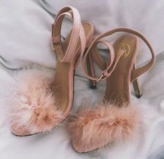shoes pink nude fuzzy heels
