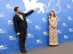 Pablo Larrain & Natalie Portman from 2016 Venice Film Festival: Star Sightings The Oscar winner, in a floral Valentino dress, has some fun on the carpet with her Jackie director. Valentino Dress, Oscar Winners, Natalie Portman, Have Some Fun, Film Festival, Venice, Carpet, Stars, Celebrities
