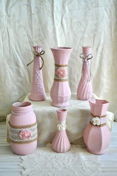Set of 6 Vases- Country Rustic Shabby Chic Pink Burlap Lace Flower Wedding, Bridal Shower, Baby Shower, Home Decor Vases, Valentine's Day