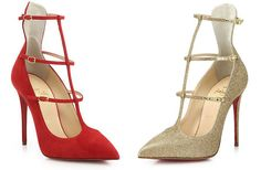 Christian Louboutin Toerless Muse Suede Triple-Strap Pumps