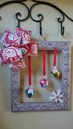 Christmas wreath, picture frame Christmas wreath, door wreath, snow man bow by KaterinaKatka on Etsy