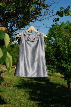XS gray shinny blouse, upcycled silk blouse, folded top, formal top, sleeveless silver blouse, origami blouse, zero waste clothing relogyyy