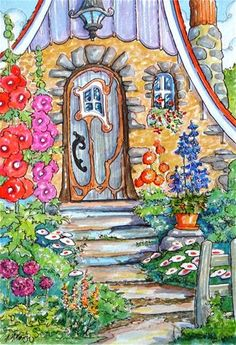 "Daily Paintworks - ""Welcome to My Door Storybook Cottage Series"" - Original Fine Art for Sale - © Alida Akers"