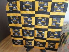 """Pittsburgh Steelers Quilt Top 100 Cotton 40 """" Square Baby Throw 