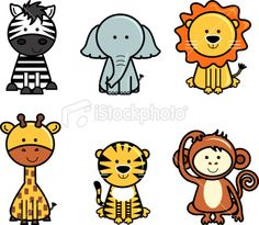 Set of isolated cute vector icons of jungle animals including zebra, elephant, lion, giraffe, tiger and monkey. Zebra Drawing, Lion Drawing, Drawing For Kids, Easy Giraffe Drawing, Monkey Drawing Cute, Cute Animal Drawings, Cartoon Drawings, Easy Drawings, Easy Animals