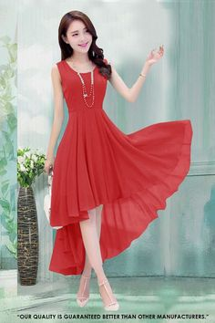 Fancy Readymade Red Western Wear Dress - 30042