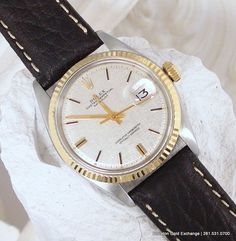 #Vintage #Rolex DateJust Men's in 14K & Stainless Steel with a gorgeous silver tapestry dial. Circe 1972.