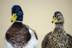 'Two Little Ducks'  Hand & Machine Embroidered Art Canvas ©gillianbates 2016
