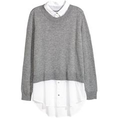 Sweater with Shirt Collar $34.99 ($35) ❤ liked on Polyvore featuring tops, sweaters, white shirt, gray wool sweater, woven shirts, tail shirts and wool sweaters