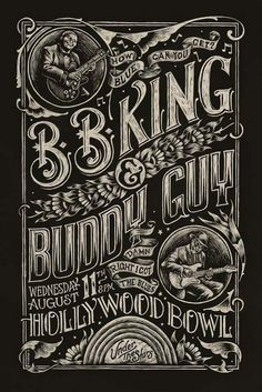 Blues: BB King & Buddy Guy at Hollywood Bowl Concert Poster Rock Posters, Band Posters, Quote Posters, Poster Shop, Gig Poster, Jazz Poster, Digital Art Illustration, Inspiration Typographie, Kunst Poster