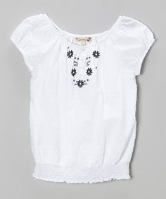 Look what I found on #zulily! White Daisy Peasant Top by Speechless #zulilyfinds