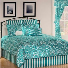 Turquoise Bedding - bring the colors of the ocean, blue and teal to any bedroom with our turquoise and brown comforter sets, duvet covers, quilts and bedspreads. Damask Bedding, Luxury Bedding, White Bedding, White Curtains, Queen Comforter Sets, Bedding Sets, Blue Comforter, Room Ideas Bedroom, Bedroom Decor