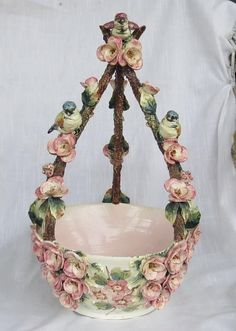 "FABULOUS FRENCH BARBOTINE MAJOLICA BASKET 17"" TALL  - AS FOUND"