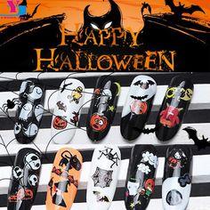 Wholesale 48pcs Halloween Nail Stickers DIY Designer Charms Pegatinas Ongles Decoration Decals Nail Art Maquiagem Manicure Tool