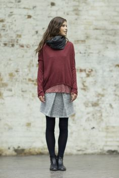 burgundy + grey, flowing