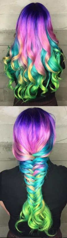 "Collage of Multi-Colored Hair in Curls & Big Braid? <a class=""pintag searchlink"" data-query=""%23Hairstyle"" data-type=""hashtag"" href=""/search/?q=%23Hairstyle&rs=hashtag"" rel=""nofollow"" title=""#Hairstyl (Rose Gold Hair Manic Panic)"
