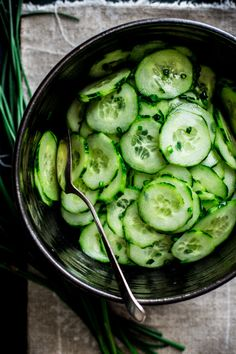 Simple Skinny Cucumber Salad only 19 calories per serving. Vegan, Gluten-free and Fat-free. On healthyseasonalrecipes.com