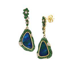 19K yellow gold earrings with 0.48 carat round brilliant cut diamonds, 3.31 carat tsavorite, 6.38 carat center australian opal.(25104) #michaeljohnjewelry