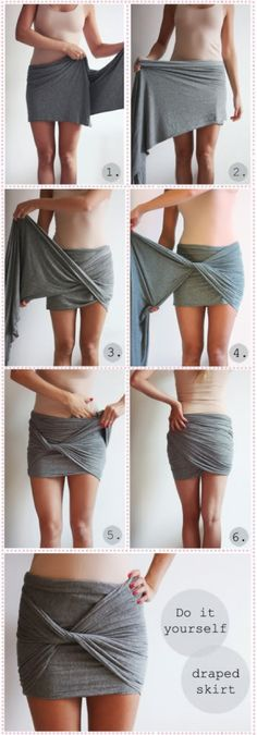 Draped skirt. Translated from Google: All you need is a scarf in a fun color. This scarf should be a bit broad, because: we will make a skirt (and the skirt must of course fall on your butt)! How to do this? Follow the pictures below and make the same movements. The result is a very hip and skirt are cheap.