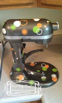 Kitchen mixer vinyl decal set 100 piece circle, dots and rings THREE color choices. $10.00, via Etsy.