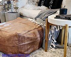 Bohemia Marrakech pouf leather Original by BohemiaMarrakechCom Square Pouf, Marrakech, Moroccan, Home Goods, The Originals, Leather, Bohemia