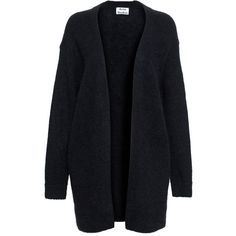 Acne Studios Raya Mohair Cardigan (£180) ❤ liked on Polyvore featuring tops, cardigans, jackets, outerwear, sweaters, black, relaxed fit tops, slimming tops, slim fit cardigan and mohair cardigan