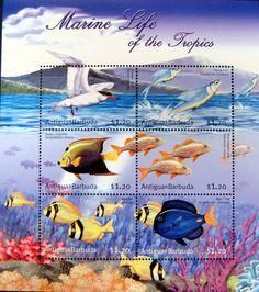 ANTIGUA & BARBUDA MARINE LIFE STAMPS SHEET SEA LIFE TROPICAL FISH ANGELFISH