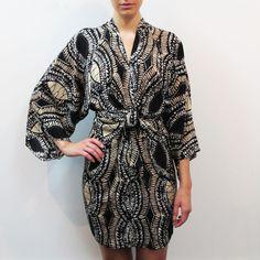 Fab.com   Short Kimono Dress Tribal Taupe