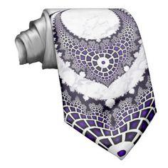 Purple Futuristic Abstract Design Tie