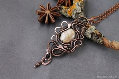 Coral pendant, Wirewrap necklace, Wire wrapped jewelry handmade,copper pendant, beige pendant