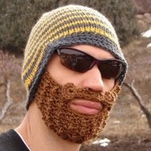 BEARDIES - HANDMADE KNITTED BEARDED BEANIE HATS - LOL!!!! What a wacky way to solve a problem