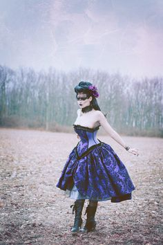 Alternative Steampunk Wedding Gown Purple Decadence Velvet Flock-Custom to your size. $645.00, via Etsy.