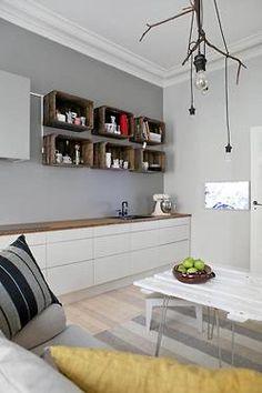 sleek and cosy combo. Kitchen + living room