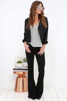 Road Runner Black Flare Jeans at Lulus.com!