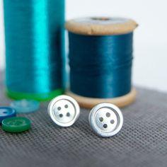 Silver Button Stud Earrings Gift for by RockRoseJewellery on Etsy