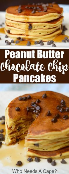 Delicious Peanut Butter Chocolate Chip Pancakes are simply wonderful. Your favorite flavors in this easy breakfast treat, great for holiday mornings! #ad #pancakestar @meijerstores