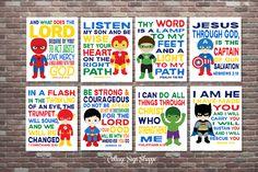 Superhero Art, Christian Superhero Art, Scripture Superhero Art, SET, INSTANT DOWNLOAD, Boys Superhero Scripture Art, Superhero Scripture A by CottageArtShoppe on Etsy