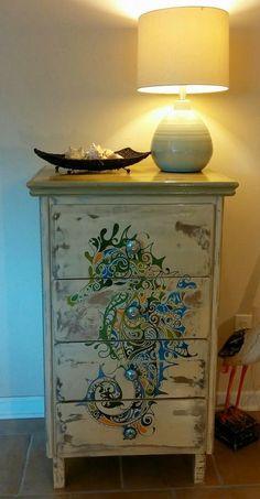 Seahorse art dresser makeover by Beachy Keen: https://www.facebook.com/beachykeenbiloxi/photos/pb.633905706700639.-2207520000.1409427621./647750985316111/?type=3&theater