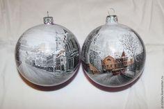 """Купить Новогодний шар """"Московские улицы"""" - разноцветный, шар новогодний, шар с росписью, шар на ёлку"""