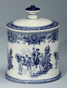 Victorian Biscuit Jar Blue & White, Carriage Scene.