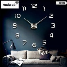 New Home decoration wall clock large mirror wall clock Modern design large wall clocks diy wall stickers unique gift - Room accessories Wall Clock Sticker, Mirror Wall Clock, Metal Mirror, Wall Clocks, 3d Mirror, Mirror Ideas, Mirror Vinyl, Sticker Mural, Mirrors