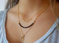 Triple Layered Gold Necklace set  Bird Beads by annikabella