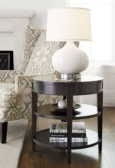 Evoking The Elegance Of Design, The Colette Side Table Traces A Perfect  Circle In Espresso Stained Hardwood. A Single Integrated Drawer Conforms To  Its Trim ...