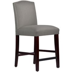 903e1b12e Skyline Furniture Nail Button Arched Counter Stool in Grey Linen
