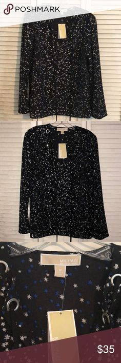 303dd032833 NEW Michael Kors Glitter Star Top Black top with silver glitter stars and  royal blue stars