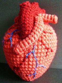 crocheted anatomical heart amigurumi